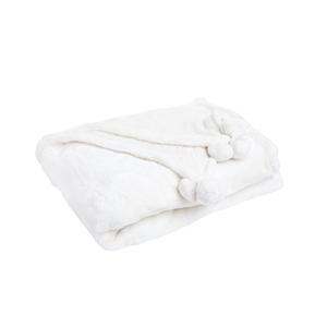 Plaid blanc à pompons 130 x 170 cm 683247