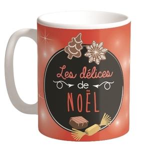 Mugs Delices Noël Céramique Fond Rouge H9.50 cm 683265