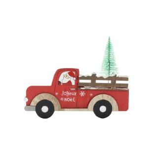 Père Noël Sapin Livraison à poser Bois 18x12x15 cm Rouge 683410