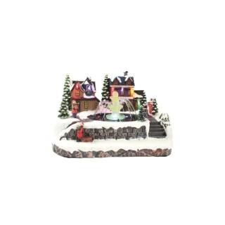 Village de Noël avec Fontaine Led 17/ 26x21x18,5 Multicolore 683450