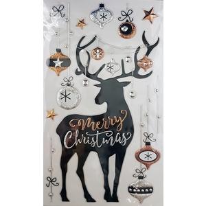 Planche d'autocollants motifs cerf et boule de Noël 683587