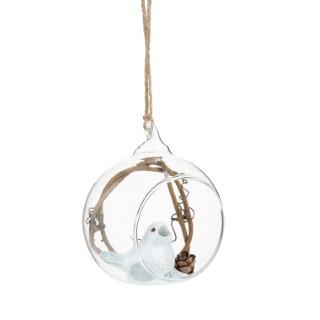 Boule de Noël en verre décor branchage et animaux de la forêt. Dim L 7,5 x PR5,7 x H9 cm 684118