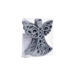Boite de 6 anges en plastique argenté H.10 cm 684160