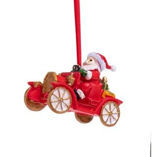 Suspension Père Noël en voiture en polyrésine rouge, blanc, or. 684192