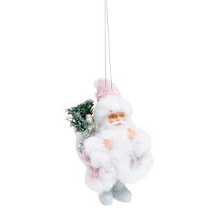 Suspension Père Noël rose & blanc - H 13 cm 684199