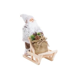 Père Noël gris et marron dans traineau 30 cm 684233