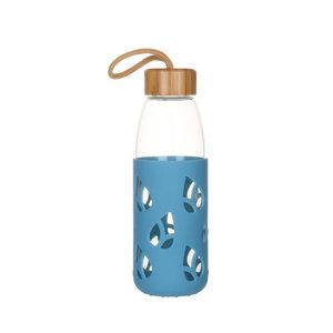 Bouteille en verre et silicone nomade 55 cl coloris bleu H 21 x Ø 7 cm 685408