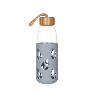 Bouteille en verre et silicone nomade 55 cl coloris gris H 21 x Ø 7 cm 685409