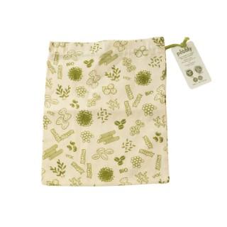 Sac à vrac en coton bio grand modèle décor vert 25x30 cm 685700