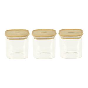 Lot de 3 boites carrées en verre et bambou - 800 ml 685704