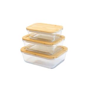 Ensemble de 3 boîtes rectangulaires en verre et bambou 400 à 1000 ml 685707
