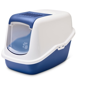 Bac à litière maison de toilette bleue pour les chats 691777