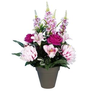 Pot rose delphinium chrysanthème 694284
