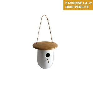 Nichoir thyni en bois et céramique blanc Ø 18 x H 13,8 cm 695033