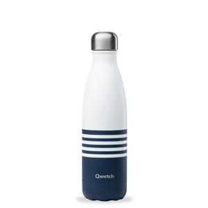 Bouteille isotherme Qwetch en inox Marinière bleu blanc 500 ml 697148