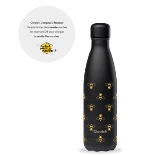 Bouteille isotherme Qwetch solidaire en inox Bee noir 500 ml 697149