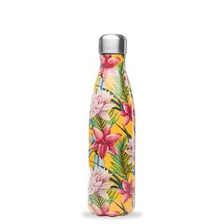 Bouteille isotherme Qwetch en inox Tropical à fleurs jaunes 500 ml 697150