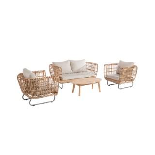 Banquette et fauteuils Sinaris beige 90 x 85 x 74 et 160 x 85 x 74 cm 697535