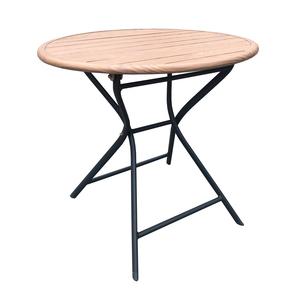 Table Max ronde en alu look teck Ø 80 x 74 cm 697562
