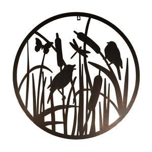 Décoration murale ronde marron avec oiseaux Ø60 cm 699063