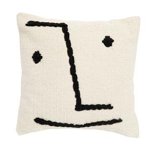 Coussin avec visage en coton blanc 45x45 cm 699091
