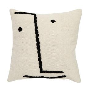 Coussin avec visage en coton blanc 60x60 cm 699092