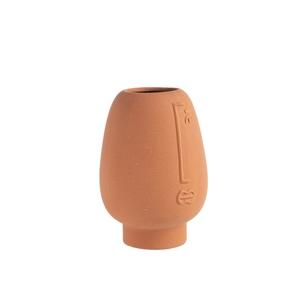 Vase avec visage ocre en céramique 11,4x16 cm 699258