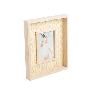 Cadre photo rectangulaire en bois et rotin 23,3 x 28,5x3,4 cm 699271