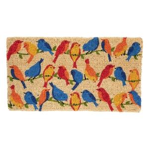 Paillasson Oiseaux sur branche en fibre de coco multicolore 72x40 cm 699354