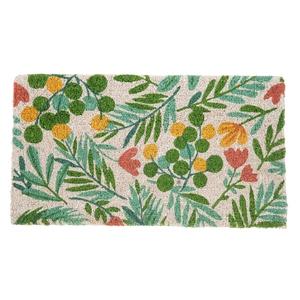 Paillasson Campagne en fibre de coco motif feuillage vert 72x40 cm 699359