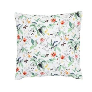 Coussin blanc en coton avec motifs floraux multicolores 60x60 cm 699598