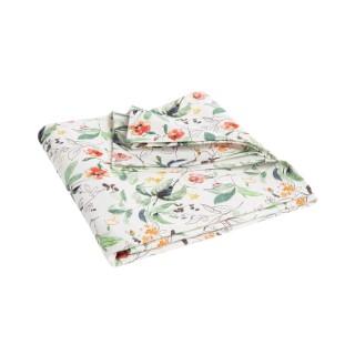 Nappe blanche en coton à motifs floraux multicolores 150x250 cm 699606