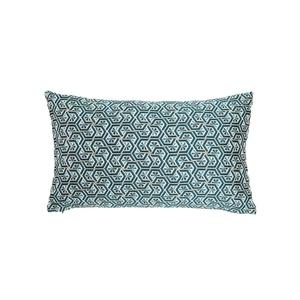 Coussin Eli en tissu jacquard polyester bleu roi 30x50 cm 699617