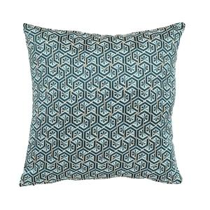 Coussin Eli en tissu jacquard polyester bleu roi 45x45 cm 699618