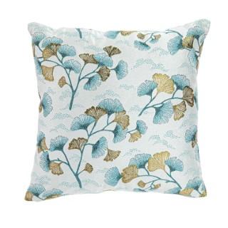 Coussin en polyester fond blanc motifs feuilles bleues et or 45x45 cm 699620