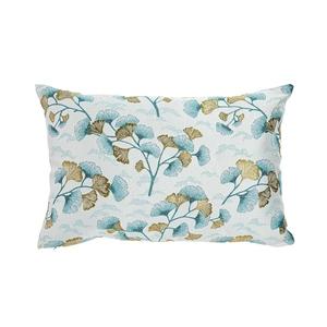 Coussin en polyester fond blanc motifs feuilles bleues et or 60x40 cm 699621