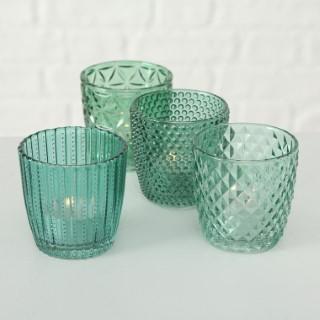 Photophore Marilu en verre bleu 4 modèles assortis H 7,5 x Ø 7,5 cm 699683
