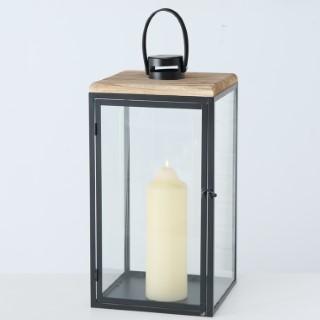 Lanterne Sirio en métal noir et couvercle bois 20x20x43 cm 699695