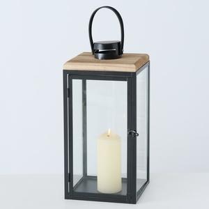 Lanterne Sirio en métal noir et couvercle bois 26x26x52 cm 699696