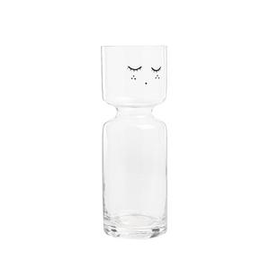 Grand vase avec visage en verre transparent 7x20 cm 699724