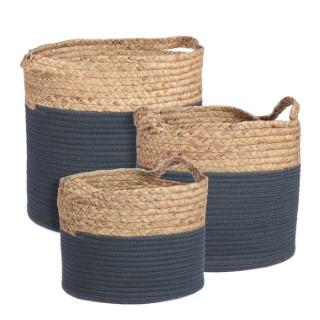 Panier Torba en fibre naturelle et coton bleu H 32 x Ø 33 cm 699736