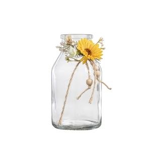 Vase soliflore forme bouteille avec décoration H 15 x Ø 8 cm 699804