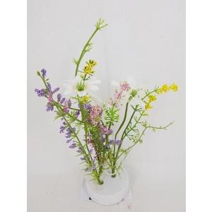 Déco de table blanche en fleurs séchées artificielles Ø 7 x 18 cm 699822