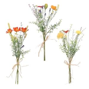 Bouquet de fleurs séchées artificielles rouge, orange ou jaune H 40 cm 699823