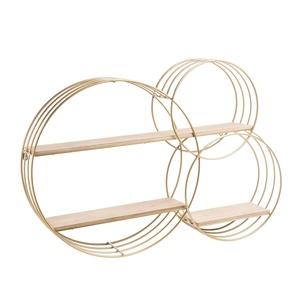 Étagère en métal doré et bois formée de 3 cercles 93x19x64 cm 699873