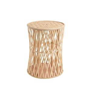 Table basse en bois et bambou avec plateau tressé Ø 35 x H 45 cm 699877