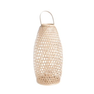 Lanterne ovale cannage en bambou Ø30xH60 cm 699901