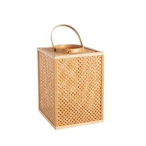 Lanterne carré cannage en bambou 20x20xH27 cm 699902