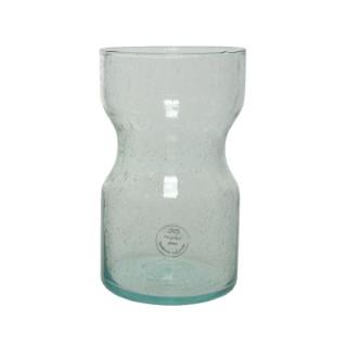 Vase forme diabolo en verre recyclé Ø 12 x H 20 cm 699909