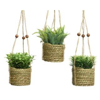 Cache pot à suspendre avec plante artificielle H 12 x Ø 8 cm 699914